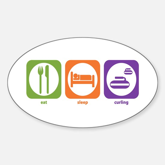 Eat Sleep Curling Oval Decal