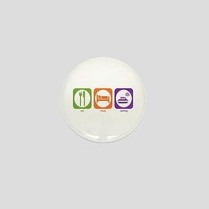 Eat Sleep Curling Mini Button