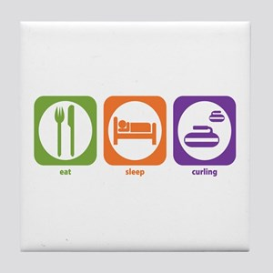 Eat Sleep Curling Tile Coaster