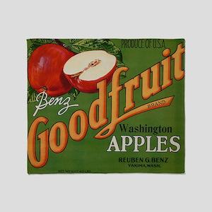 Vintage Fruit Vegetable Crate Label Throw Blanket