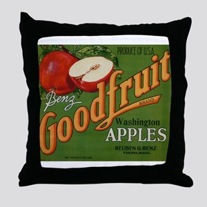 Vintage Fruit Vegetable Crate Label Throw Pillow