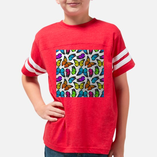 Rainbow Monarch Butterfly Pat Youth Football Shirt