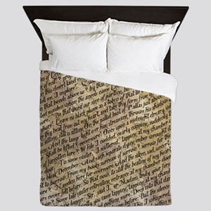 Poe Raven Text Pattern Queen Duvet