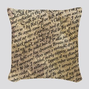 Poe Raven Text Pattern Woven Throw Pillow