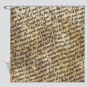 Poe Raven Text Pattern Shower Curtain