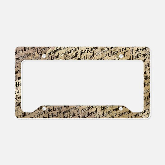 Poe Raven Text Pattern License Plate Holder