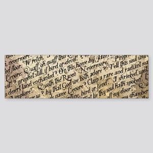 Poe Raven Text Pattern Bumper Sticker