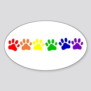 Rainbow Paws Oval Sticker