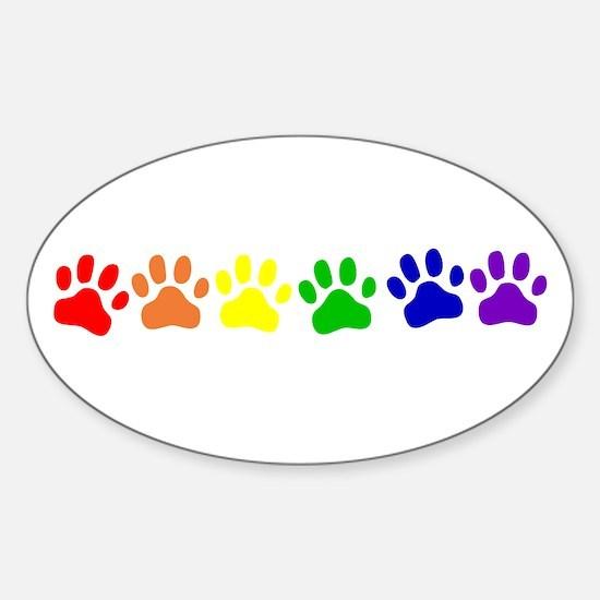 Rainbow Paws Oval Decal