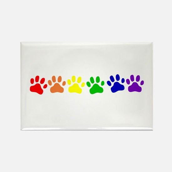 Rainbow Paws Rectangle Magnet (100 pack)
