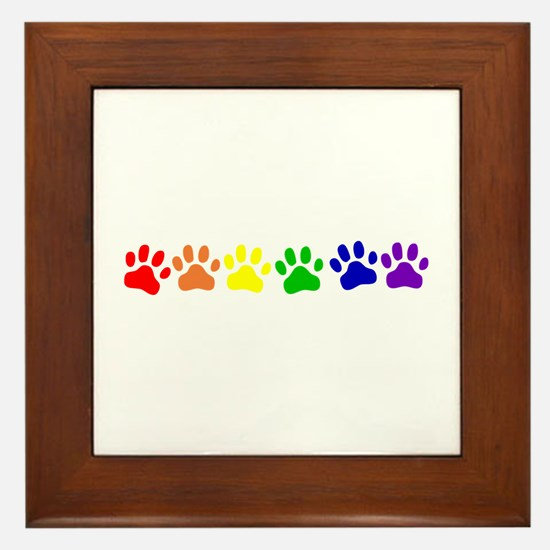 Rainbow Paws Framed Tile