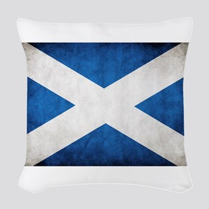 antiqued scottish flag Woven Throw Pillow