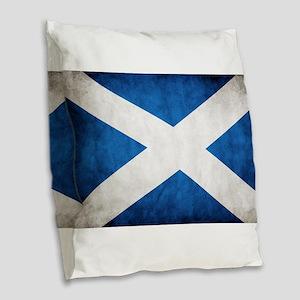 antiqued scottish flag Burlap Throw Pillow