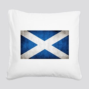 antiqued scottish flag Square Canvas Pillow
