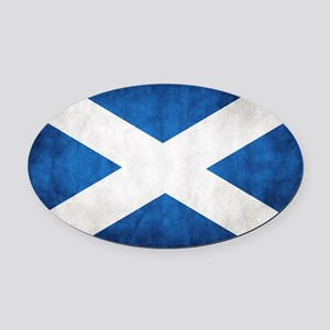antiqued scottish flag Oval Car Magnet