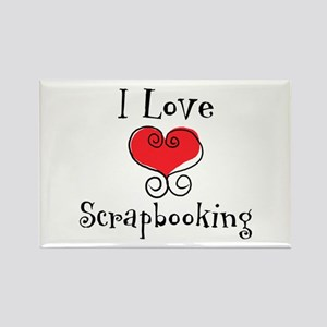I Love (heart) Scrapbooking Rectangle Magnet