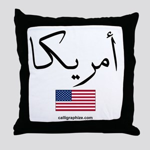 United States Of America Flag Arabic Throw Pillow