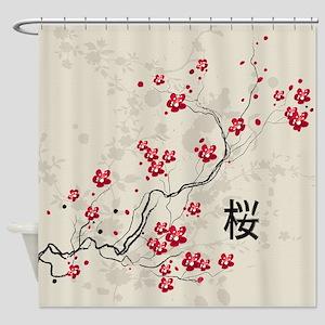 Oriental Style Sakura Cherry Blosso Shower Curtain