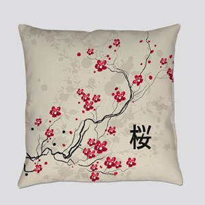Oriental Style Sakura Cherry Bloss Everyday Pillow