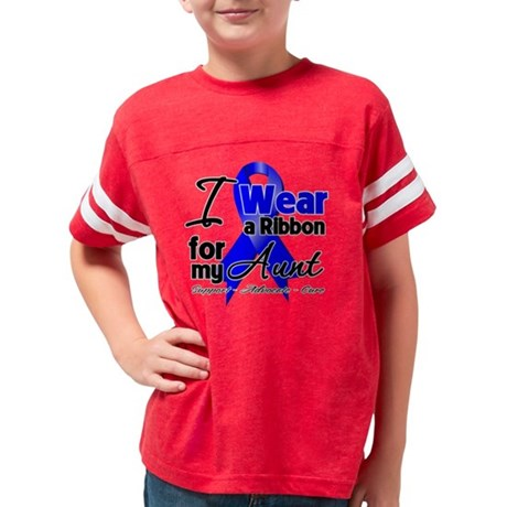 Aunt - Colon Cancer Ribbon Youth Football Shirt
