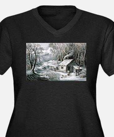 Home in the wilderness - 1870 Women's Plus Size V-