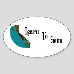 Learn to Swim Oval Sticker