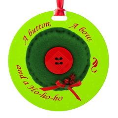 Button, Bow, Ho-ho-ho Ornament