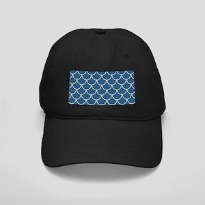 Blue & Beige Fish Scales Patt Black Cap with Patch