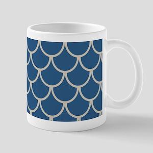 Blue & Beige Fish Scales Pattern 11 oz Ceramic Mug