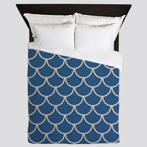 Blue & Beige Fish Scales Pattern Queen Duvet