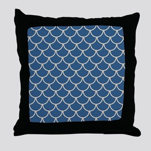 Blue & Beige Fish Scales Pattern Throw Pillow