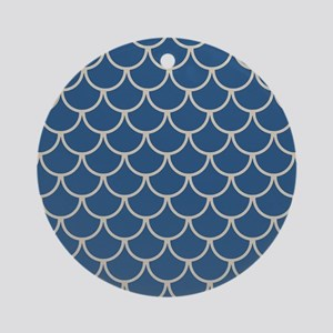 Blue & Beige Fish Scales Pattern Round Ornament