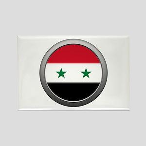 Round Syrian Arab Republic Flag Rectangle Magnet