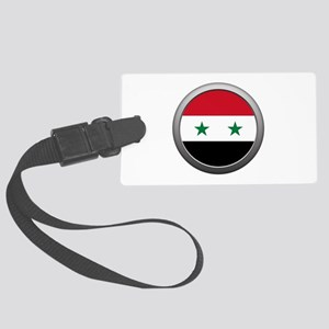 Round Syrian Arab Republic Flag Large Luggage Tag