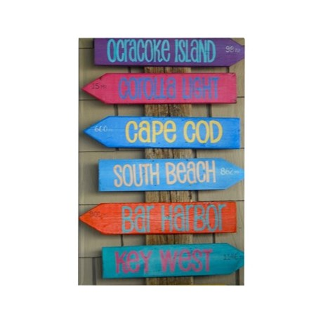 Beach Signs Rectangle Magnet