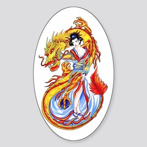 Geisha and Dragon Oval Sticker