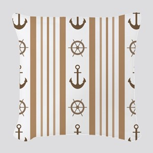 Anchor Sailing Ships Wheel Nau Woven Throw Pillow