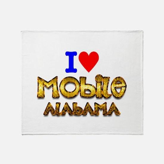 I Love Mobile Alabama 2 Throw Blanket