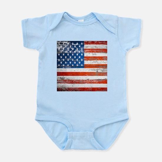 Primitive barnwood American Flag Body Suit