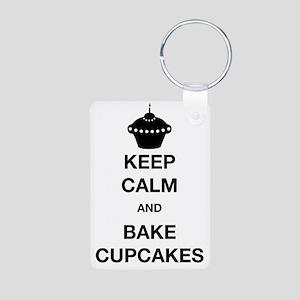 Keep Calm and Bake Cupcake Aluminum Photo Keychain