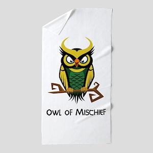 Owl of Mischief Beach Towel