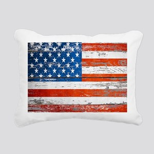 Primitive barnwood Ameri Rectangular Canvas Pillow