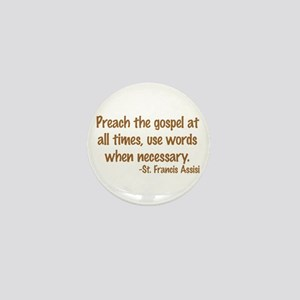 PreachTheGospelWordsBrownText1 Mini Button