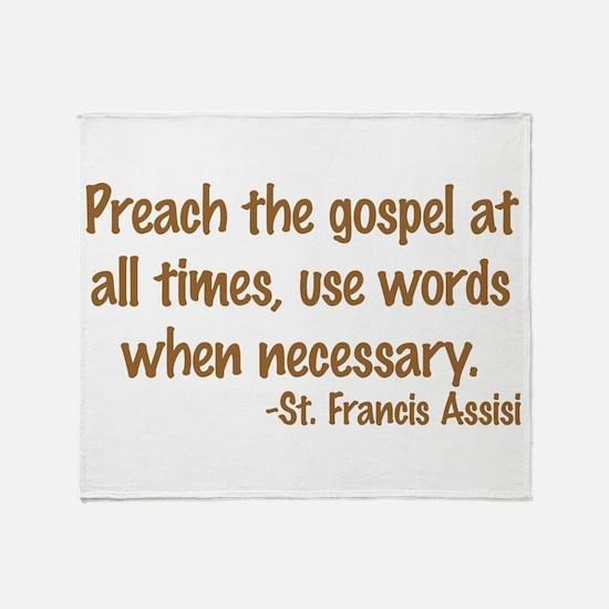 PreachTheGospelWordsBrownText1.png Throw Blanket