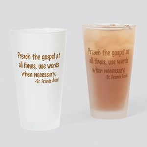 PreachTheGospelWordsBrownText1 Drinking Glass