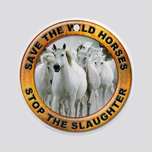 Save Wild Horses Ornament (Round)