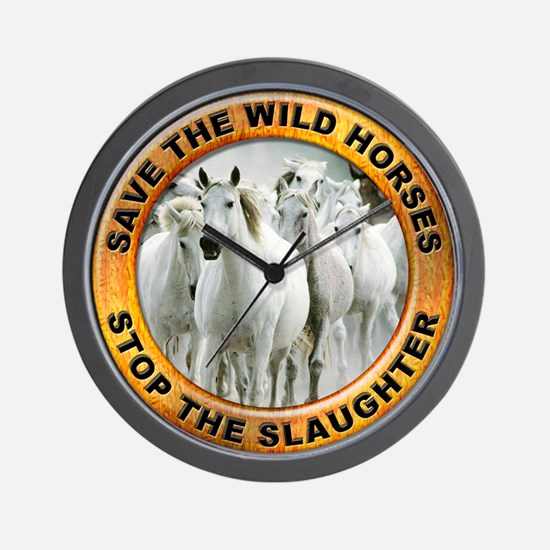 Save Wild Horses Wall Clock