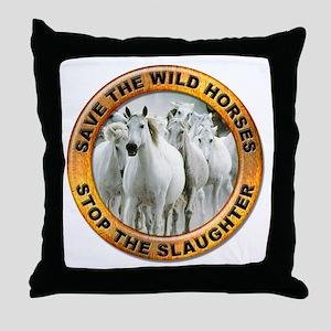 Save Wild Horses Throw Pillow