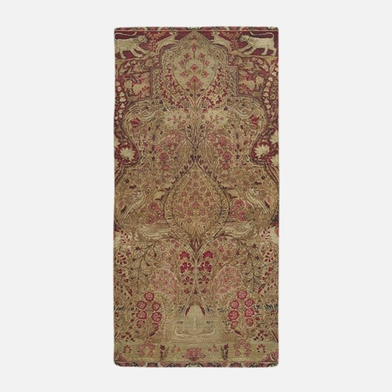 Red Vintage Antique Floral Persian Beach Towel