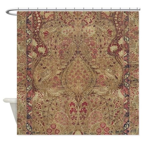 Red Vintage Antique Floral Persian Shower Curtain by fractal_vicky